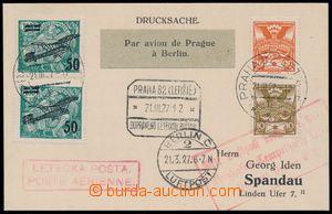 190287 - 1927 first flight PRAGUE - BERLIN, card sent to Berlin, with