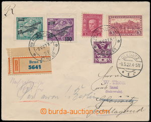 190297 - 1927 first flight BRNO - HLIVICE, Reg and airmail letter, wi