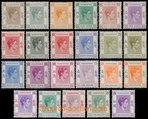 190438 - 1938-1952 SG.140-162, Jiří VI. 1c - $10; kompletní dlouhá sé