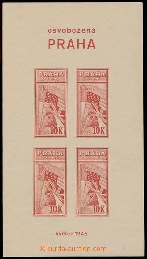 190468 - 1945 OSVOBOZENÁ PRAHA 10K  nevydaný nezoubkovaný aršík v čer