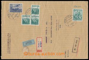 190692 - 1937 PRAGUE - BANGKOK,  commercial Reg and airmail letter, l