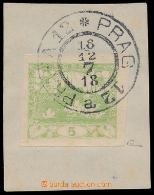 190935 -  Pof.3, 5h světle zelená na malém výstřižku s celým DR PRAHA