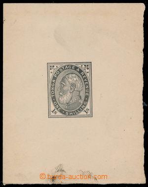 191025 - 1886 ZT  pro SG.4, král Jiří I. 1Sh, otisk hotové rytiny v č