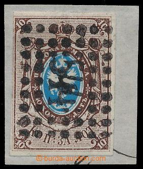 191109 - 1857 Mi.1, Znak 10k, luxusní kus na výstřižku s číslicovým r