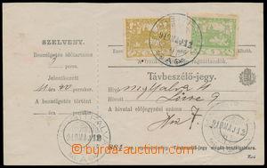 191124 - 1919 uherský formulář Távbeszélö - jegy / Telefonní stvrzenk