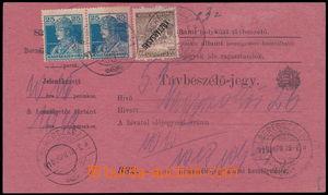 191125 - 1919 BEREHOVO  uherský formulář Távbeszélö - jegy / Telefonn