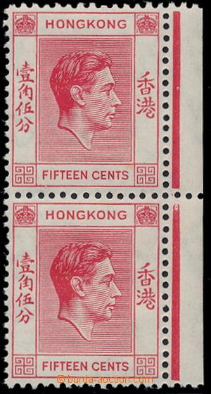 191225 - 1938 SG.146a, svislá 2-páska Jiří VI. 15C červená, nahoře ch