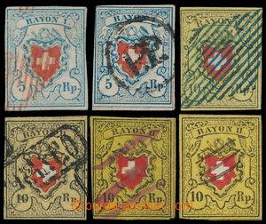 191235 - 1850-1851 Mi.8, 9, sestava 6ks Rayon II žlutá a Rayon I modr