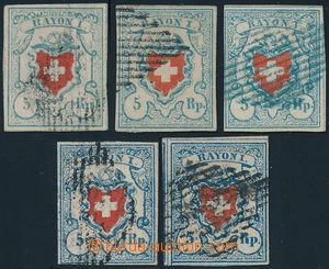 191236 - 1851 Mi.9II, sestava 5x Rayon I 5Rp modrá / červená v 5 různ