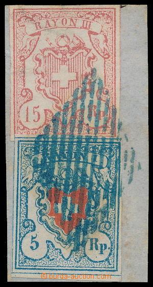 191238 - 1851 Mi.9II+12a, Rayon I + Rayon III, na výstřižku s modrou