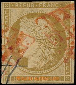 191239 - 1849 Mi.1a, kat. Ceres č.1; 10C žluto hnědá, vzácné červené