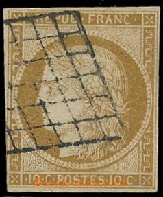 191240 - 1849 Mi.1, Ceres 10C žluto hnědá, černé raz. grille; velmi p