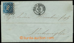 191287 - 1851 dopis se Sass.2, Viktor Emanuel II. 20C modrá, němé raz