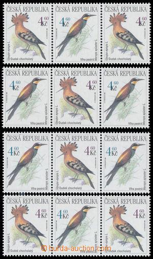 191438 - 1999 Pof.209 VV-210 VV, Ptáci 3x 4,60Kč, 2x vodorovná 3-pásk
