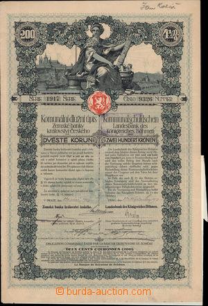 191502 - 1917 R-U/  Komunální dlužní úpis Zemské banky království Čes