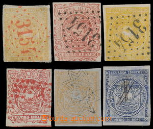 191638 - 1865-1872 Sc.2, 3, 3a, 4, 6, selection of 6 stamps Coat of a
