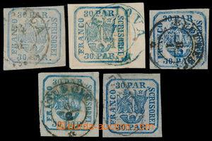 191649 - 1862 Mi.10I,II, 5x Znak 30 Parale, 2x Einzeldruck, 3x Platte
