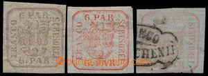 191650 - 1862 Mi.9Ixa, 9Ixb, 9Iz, Znak 6 Parale Einzelldruck hnědočer