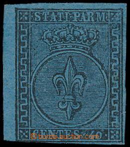 191676 - 1852 Sass.5, Znak 40C modrá; bezvadný krajový kus, zk. Diena