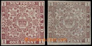 191692 - 1857-1862 SG.1, 16, Heraldické květiny 1P hnědo purpurová na