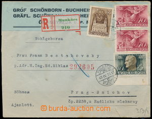 191762 - 1940 MUKACHEVO  commercial Reg letter to Protectorate, richl
