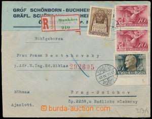 191762 - 1940 MUKAČEVO  firemní R-dopis zaslaný do Protektorátu, boha