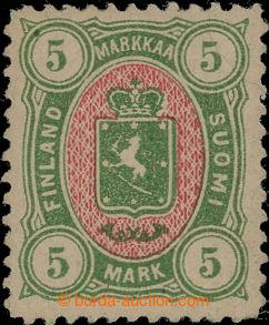 191895 - 1887 Mi.25b, Znak 5M žlutozelená / červená, jedna z koncovýc