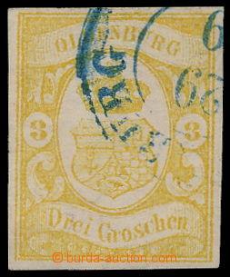 192011 - 1861 Mi.14, Znak 3Gr tmavě šedožlutá s modrým raz.; zk. Rieg
