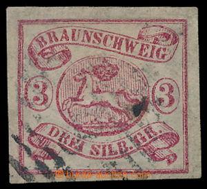192012 - 1861-1865 Mi.3, Znak 3Gr fialově - červená, krásný střih; ka