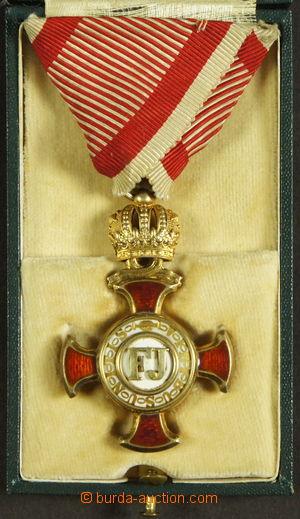 192014 - 1849 Záslužný kříž 1849, zlatý s korunou na vojenské stuze,