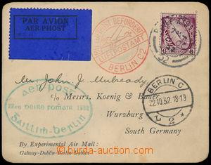 192103 - 1932-1950 letecká karta z Galway do Würzburgu přepravená let