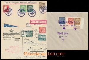 192137 - 1938 2 dopisy + 1 Let-karta, smíšené německo-čs. frankatury