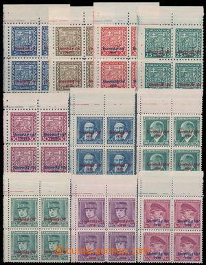 192312 - 1939 Sy.2-10 + Sy.12, sestava 10ks levých horních 4-bloků, v