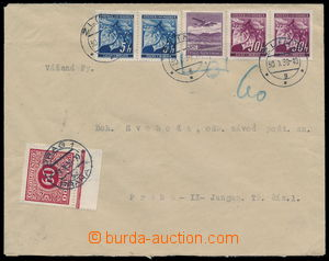 192573 - 1939 letter with mixed franking Linden Leaves and Air 30h, C