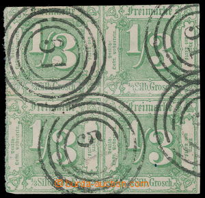 192618 - 1862-1864 Mi.27, Číslice 1/3 Sgr. zelená ve 4-BLOKU (!) s kr