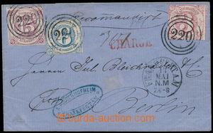 192619 - 1864 skládaný dopis do Berlína, vyfr. zn. Číslice 15Kr, 6Kr