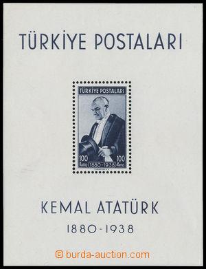 192658 - 1938 Mi.Bl.1, aršík Atatürk 100K černo - modrá; kat. 90€