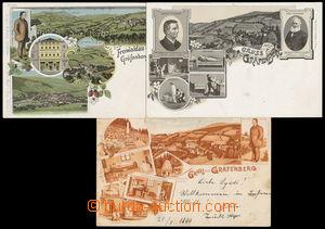 192770 - 1899-1905 JESENÍK (Gräfenberg) - sestava 3ks lito okénkových