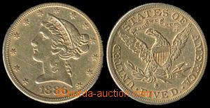 192926 - 1886 USA / 5 dolarů 1886; Au 900/1000, pěkný kus