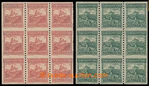 193046 - 1926 Pof.209A, 210A, Hrady 20h oranžová a 30h zelená, svitko