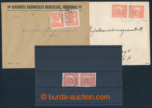 193090 - 1919-1920 JOINED TYPES  2 letters with 15h bricky red, 1x co