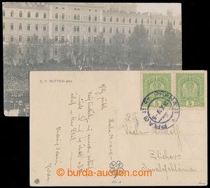 193111 - 1918 1. DEN SAMOSTATNOSTI   pohlednice vyfr. 2-páskou Koruna