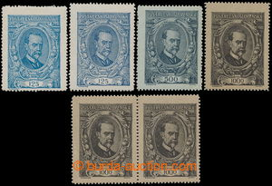 193210 -  Pof.140-142, 125h-1000h, Masaryk, complete set incl. Pof.12
