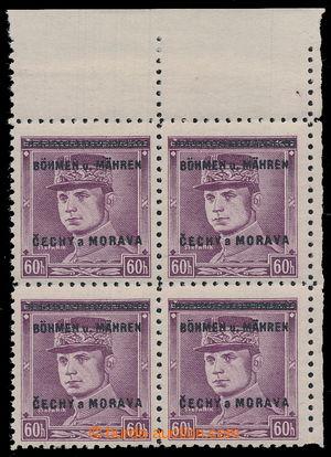 193341 - 1939 Pof.8, Štefánik 60h fialová, pravý horní rohový 4-blok