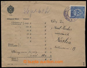 193551 - 1918 ISSUE 1916 money letter franked with. forerunner stamp
