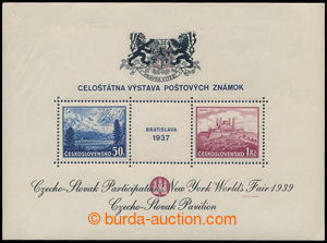 193679 - 1939 AS3a, miniature sheet Bratislava 1937, exhibition NY 19