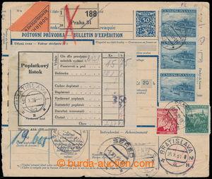 193749 - 1939 větší díl průvodky k balíku zaslaném na Slovensko, vyfr