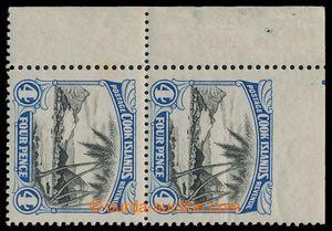 193789 - 1932 SG.103b, rohový pár 4P černá / modrá, NAHOŘE VYNECHANÁ