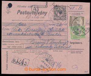 194045 - 1919 TURUL / větší díl uherské poštovní průvodky s vyfr. zn.