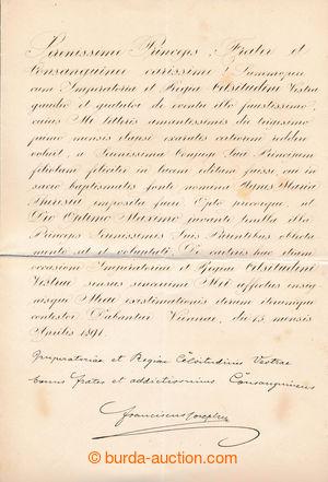194330 - 1891 FRANTIŠEK JOSEF I. (1830-1916), rakouský císař, če